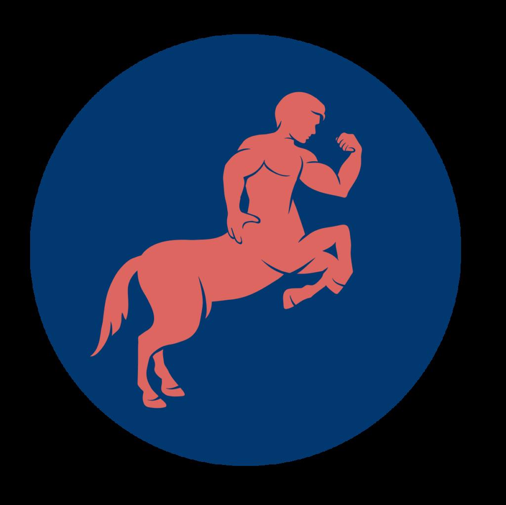 Icône-centaure-rond-bleu
