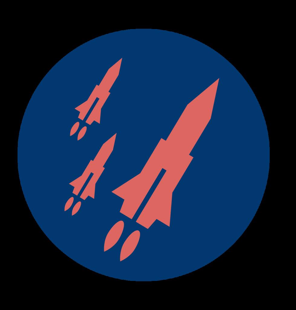 Icône-fusées-rond-bleu